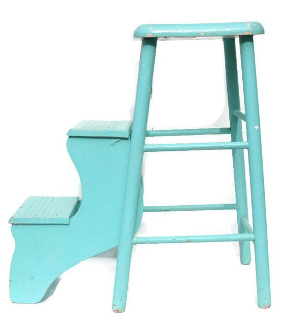 Vintage Turquoise Wooden Stool With Steps Painted Wood