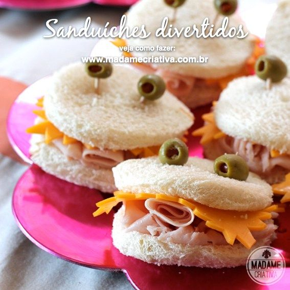 Crab and star shaped sandwiches for kids - Sanduíches divertidos para festas infantis - Festa de criança tema fundo do mar
