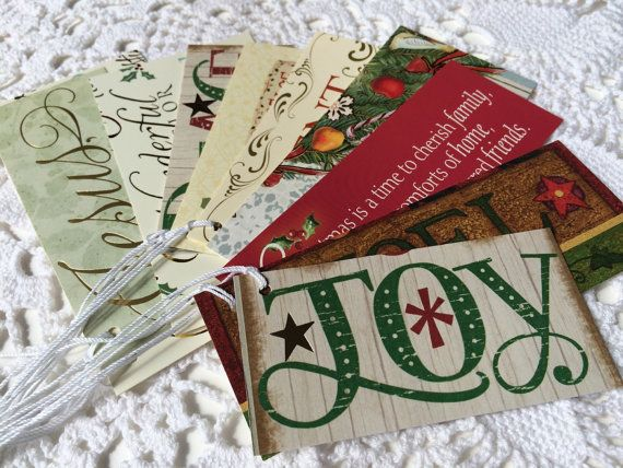 Christmas Tags, Christmas Words Christmas Words and Phrases, Holiday Gift Tags, Winter Gift Wrap, Favor Labels - Set of 10