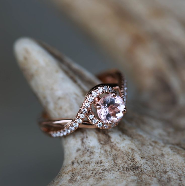 Morganite & Diamond Halo Ring Set on Rose Gold Band. Handcrafted by Staghead Designs.
