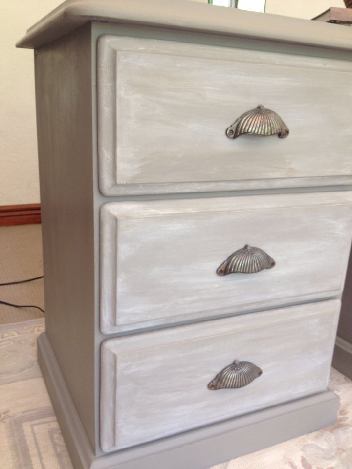 My old three drawer pine bedside tables looking beautiful in Annie Sloan  French Linen with a