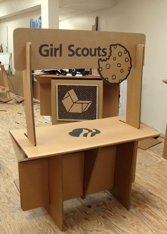 Cardboard cookie booth - front side