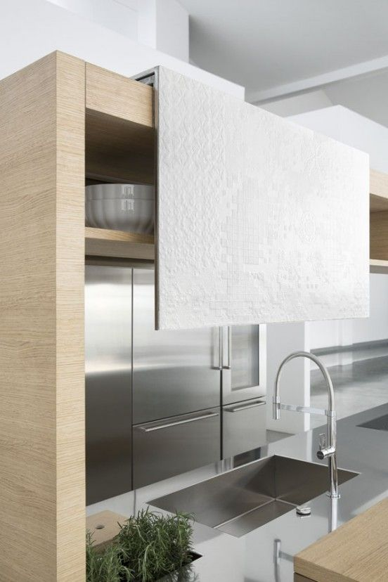 Minimalist Kitchen // The Archea freestanding modular kitchen system sink detail // designed by aris