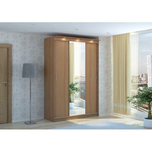 Шкаф-купе «Афина 3D-1» выполнен в светлом древесном декоре и оснащен встроенной в козырек подсветкой. Сочетание благородного оттенка корпуса «вишня», большого зеркала и мягкого света подсветки не оставят равнодушными поклонников мебели в классическом стиле. За дверьми шкафа-купе «Афина 3D-1»  вы обнаружите богатое внутренне оснащение: много горизонтальных полок, расположенных на разной высоте, и выдвижную штангу для одежды. Каркас шкафа изготовлен из ламинированной ДСП – современного, ...