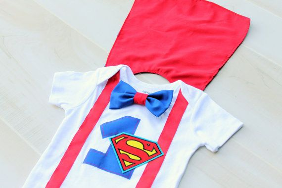 An adorable party outfit for your little superman! The #1 is an appliqué that is bonded onto the bodysuit with HeatnBond and then sewn on.