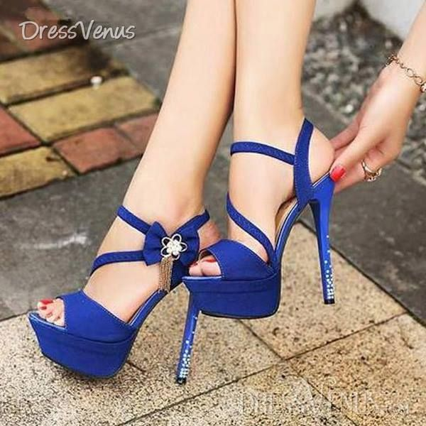 Shop New Arrival Fashion Blue High Heels on sale at Tidestore with trendy  design and good price. Come and find more fashion Sandals here.