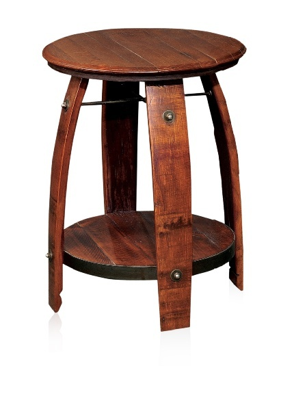 """2 Day Designs, Barrel Side Table with Shelf - Crafted from reclaimed wine barrels; features stave legs, a stamped wine barrel top and heavy wrought iron support ring and braces. length 23"""", height 28"""", width 23""""  249 - orig. 429"""