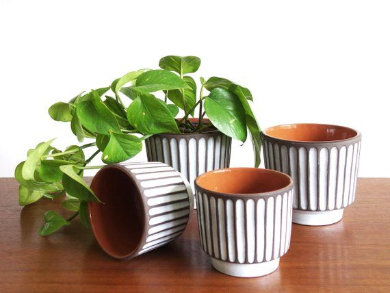 Items Similar To Set Of Four Vintage Flower Pots 60s Planter German Ceramic Pot White Brown Striped Plant Pot Made In Germany Midcentury On Etsy Vintage Flower Pots Flower Pots Ceramic