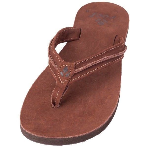 Reef Womens Swing 2 Leather Flip Flop ($50) ❤ liked on Polyvore featuring shoes, sandals, flip flops, tobacco, arch support flip flops, real leather shoes, reef flip flops, leather strap sandals and handcrafted shoes