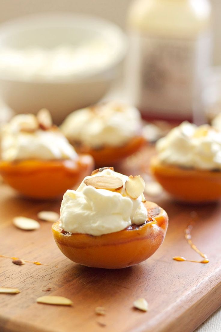 Grilled Apricots with Almond Whipped Cream & Honey. #summer #peaches #desserts