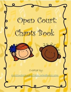 Use this Open Court Chants book as part of your word study/literacy program. Simply copy the cover sheet and the song pages back-to-back, and staple along the sides to create a book. Then give each student their own song book to keep in their Independent Reading book bag.I teach a directed drawing lesson for each song.