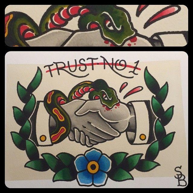 Trust no one #artist #art #tattoo #tattoos #traditional #trad #traditionalflash…