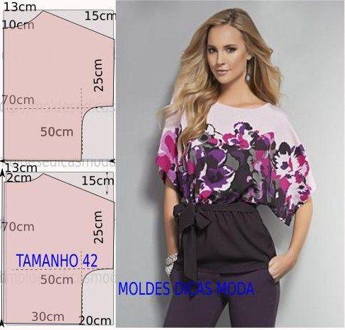 Faça a analise de forma detalhada do desenho do molde De blusa. Blusa simples e bela, veste de forma descontraída e elegante.