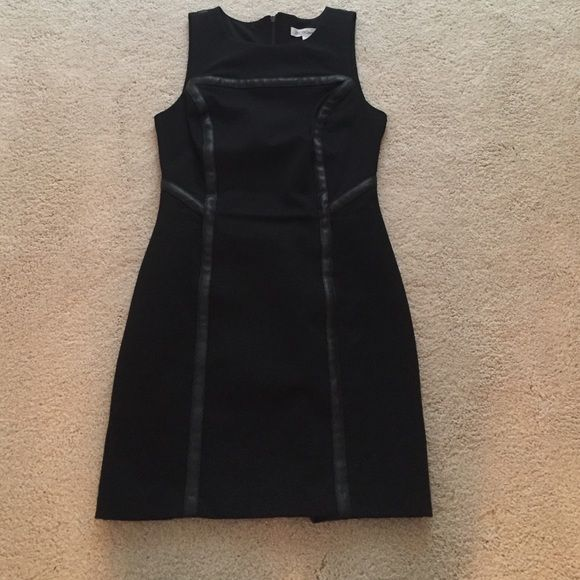 BCBGENERATION Dress Tight black dress with faux leather detail and cut out back! Super cute!!! BCBGeneration Dresses