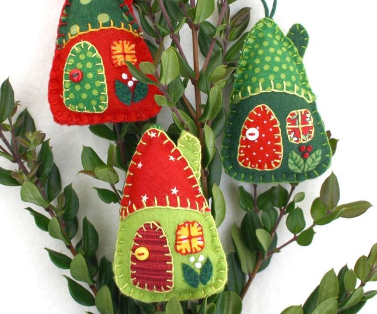 felt christmas ornaments red and green house ornaments