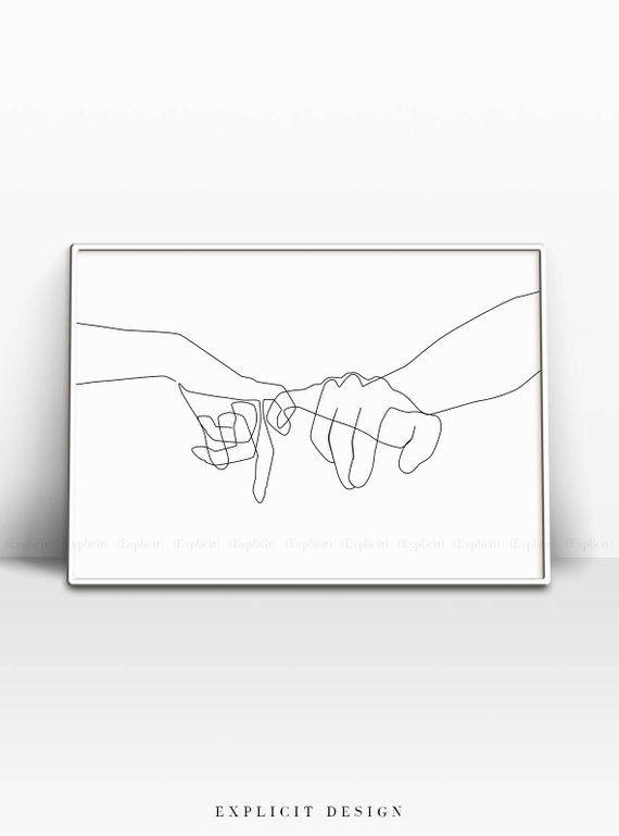 Pinky Swear Printable, One Line Drawing Print, Black White Hands Artwork, Hand Poster, Original Minimalist Couple Art, Minimal Fine Decor – Yule Van Opstal