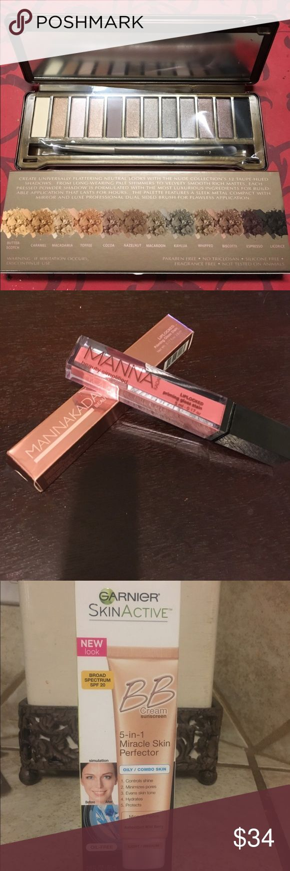 FREE 💄 LIPGLOSS!! Makeup bundle! Neutral colors!! Makeup bundle includes Garnier BB CREAM for oily/combo skin in light to medium 2 oz full size, Manna Kadar gloss in neutral lucky, Pure cosmetics shadow set in Nude palette. All NIB, unused. Selling separately but if you purchase this bundle, you are receiving the LIP GLOSS for free! Makeup