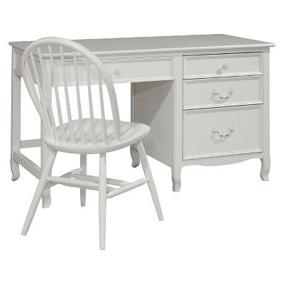 Emma Pedestal Desk With 4 Drawers White - Bolton Furniture, Beige