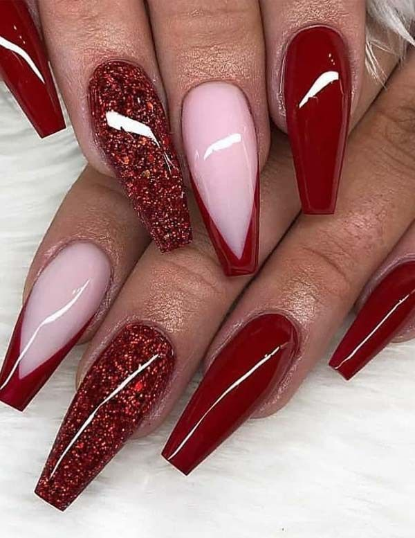 Stunning Glitter Red Nail Designs For Women In 2019 Voguetypes Red And Silver Nails Red Nails Glitter Red Nail Designs