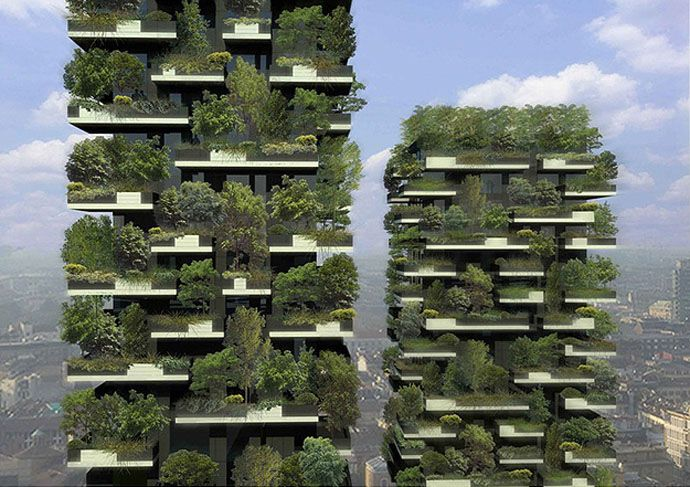 "The most exciting new tower in the world is under construction in Milan, Italy ""   This vertical forest will span across two towers that have fabulous balconies designed to house these trees.  If  we are talking about optimizing space, this vertical forest will consist of 900 trees, 5,000 bushes and 11,000 plants.  This forest, designed by architect Stefano Boeri,"