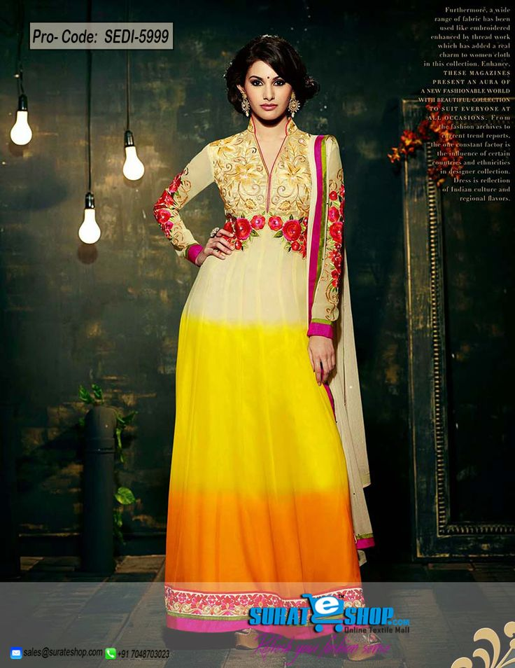Be The Sunshine Of Everyone'S Eyes Dressed In This Lovely Buttercream, Orange & Yellow Faux Georgette Salwar Kameez. The Enticing Floral Patch, Lace, Resham, Stones Work A Significant Element Of This Attire. Paired With A Matching Bottom Comes With A Contrast Buttercream Chiffon Dupatta  Visit: http://surateshop.com/product-details.php?cid=2_27_43&pid=8308&mid=0