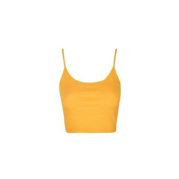 TopShop Ribbed Cropped Cami ($7.94) ❤ liked on Polyvore featuring tops, mustard, crop top, yellow crop tank top, cotton camisole, ribbed tank tops and jersey tank top