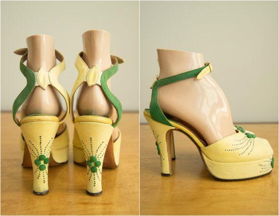 Vintage 1940s shoes / 40s designer platform by HungryHeartVintage