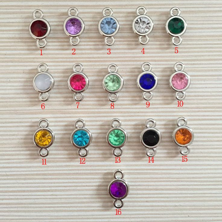 12pcs/lot Colorful Birthstone Charms 11mm*19mm Acrylic double charms for Diy Statement Necklace and Bracelet