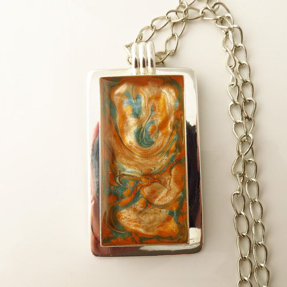 Mixed Blue Orange and Red Swirls Fantasy Epoxy by ChaoticBliss