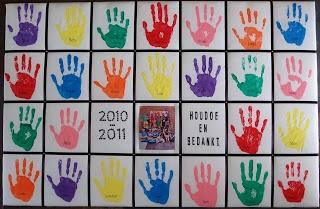 Houdoe en bedankt! canvas bord met handjes