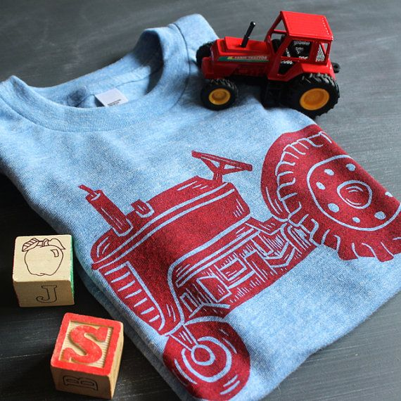 Tractor Shirt Kids Red Tractor Birthday by honeybeeskneesshop
