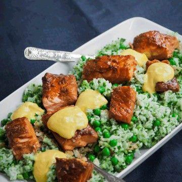 Malins sojabakade laxfilé med grönt ris och wasabimajonnäs - Recept - Tasteline.com