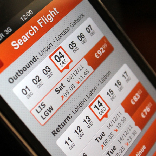 EasyJet iPhone application by Joana Bochecha, via Behance