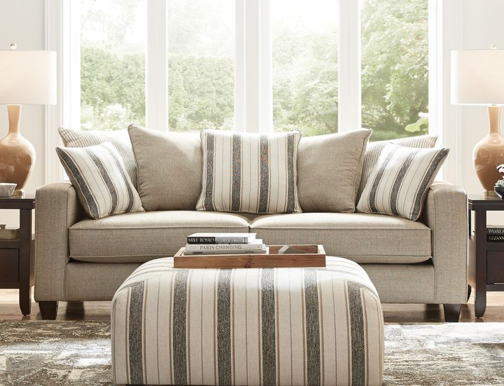Fandango II Sofa Features A Wheat Color For Neutral Body Fabric Scatter Back