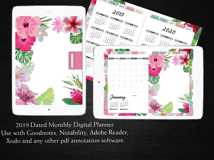 2020 Dated Monthly Tropical Floral Digital Planner, Ipad
