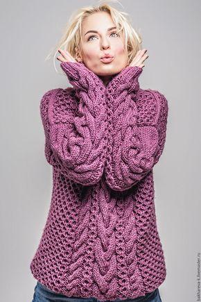 Купить Объемный свитер - сиреневый, крупная вязка, косы, оверсайз, свитер, ручная работа