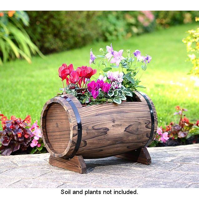Barrel reuse ideas a diy home d cor planters home for Wooden barrel planter ideas