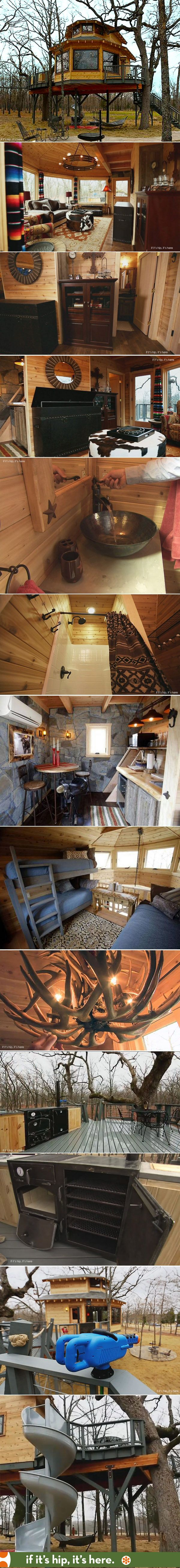 An unbelievable Mancave Treehouse!   1000 sq feet and has everything: water heated full bath, loft that sleeps five, remote controlled flat screen tv hidden in a leather chest, a humidor with watch winders, a smoker/oven/grill/, wine refrigerator and a corkscrew slide to get out. Must see all 30 photos at the link.