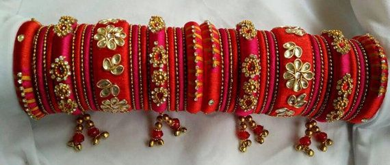 Handcrafted Silk Thread Bangle Set Zardosi Wedding by ZoaJewellery