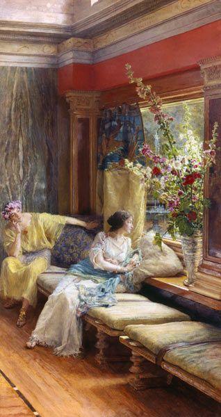 """""""Vergebliche Liebesmühe"""" von Sir Lawrence Alma-Tadema (geboren am 8. Januar 1836 in Dronrijp, Niederlande, gestorben am 25. Juni 1912 in Wiesbaden), niederländischer Maler und Zeichner."""