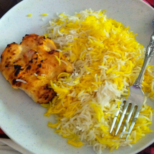 Persian food- Saffron rice with grilled chicken