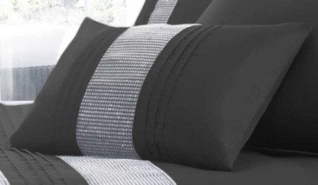 Black Oblong Cushion Cover - Diamante - Sofa Chair Seat Bed / WOW Factor: Amazon.co.uk: Kitchen & Home