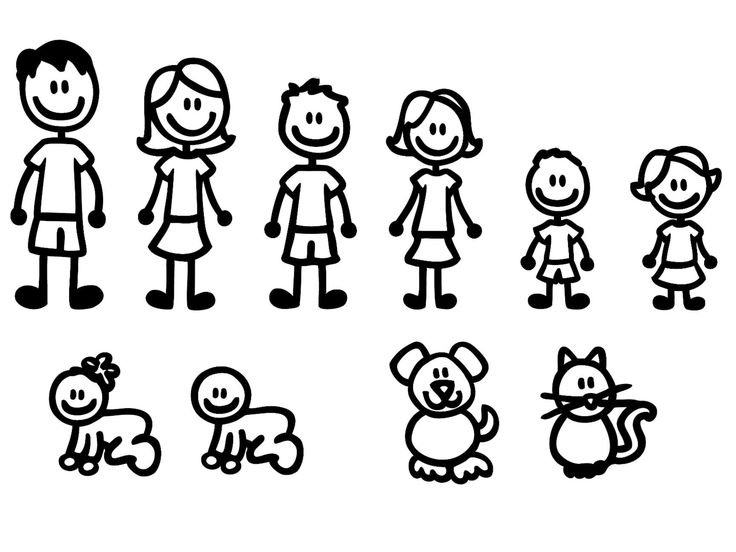 """10 STICK FIGURE FAMILY your stick figure family can be applied to any clean dry surface your Funny Vinyl Decal Sticker comes In White No Inks 100% Viny Sizes Range From 5 1/2"""" High By 2"""" Wide, to 3"""" High By 2"""" Widei"""