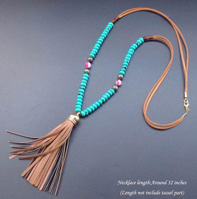 Roda de pedra Natural Turquesa contas de colar colar De Couro borla longo colar de Boêmio