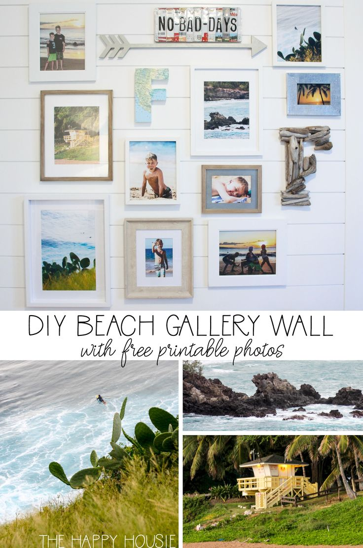 Beach Theme Gallery Wall with Free Printable Beach Photography – Hey There, Home | DIY Home Decor