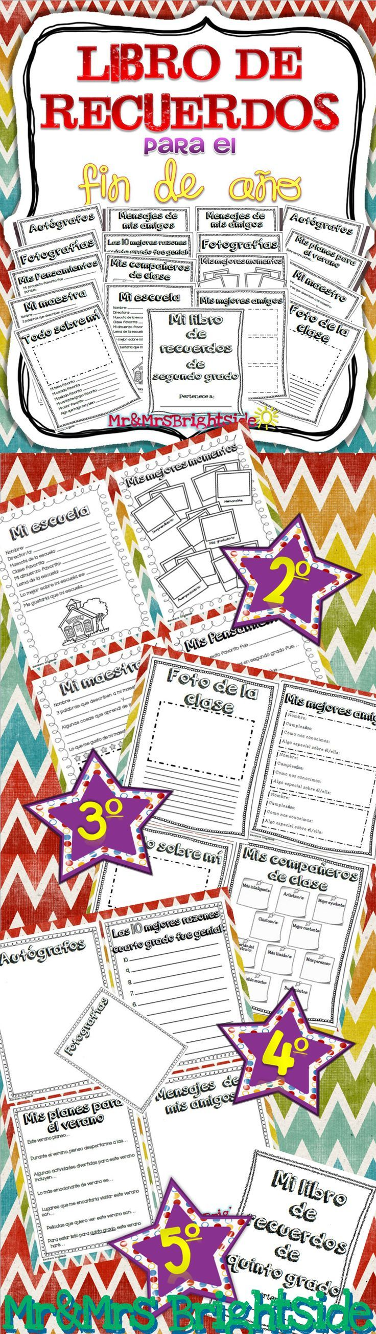 Libro de recuerdos para el fin de año: This is a 18 page memory book for the end of the year in Spanish. This memory book encourages students to write about their experiences in 2nd grade (3rd, 4th, and 5th also available). It's a great keepsake that students will remember throughout the years! Good for Spanish dual language and bilingual classes.