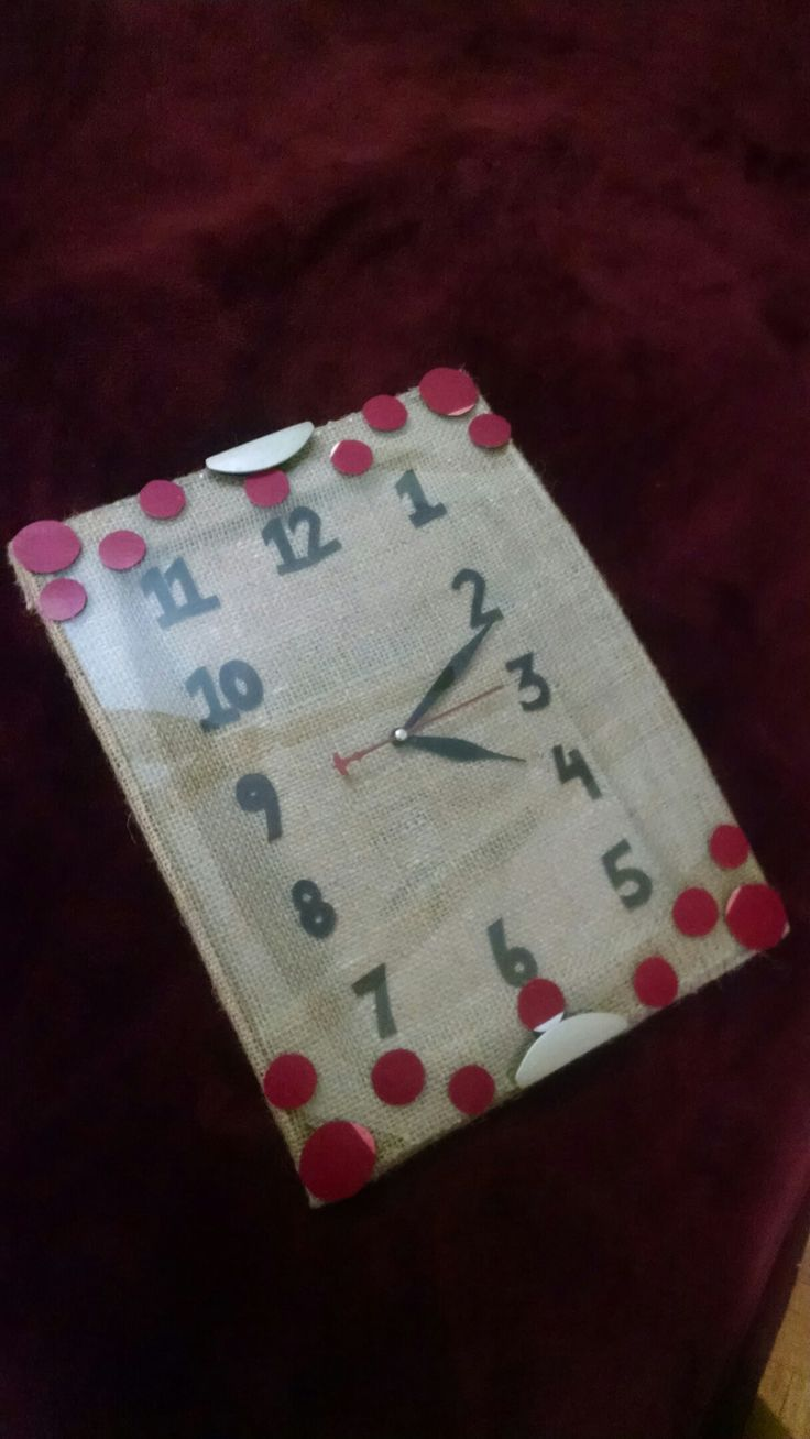 Recreated a wall clock using burlap as a background, foaming sheet for digits and card piece for polka dots..