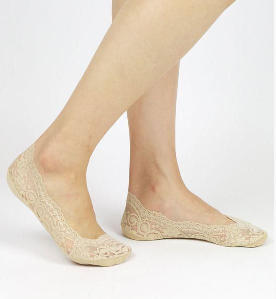 Beige Lace Sock Lace Liner Socks No Show Lace by LuLuandNugget