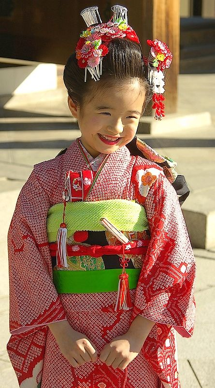 """七五三Shichi-Go-San (七五三, lit. """"Seven-Five-Three"""") is a traditional rite of passage and festival day in Japan for the age of 3, 5 and 7. Boys get their time alone in the spotlight at 5, and girls at 7, held annually on November 15 to celebrate the growth and well-being of young children. Harajuku, Tokyo"""