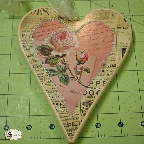Decoupage..... SLATE WALL HANGING PAPER BACKGROUND AND THEN SOMETHING ROMANTIC WITH SPLASH OF RED